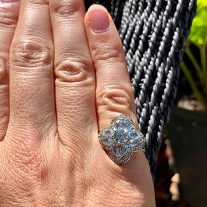 Jewelry - Sterling blue topaz and CZ ring